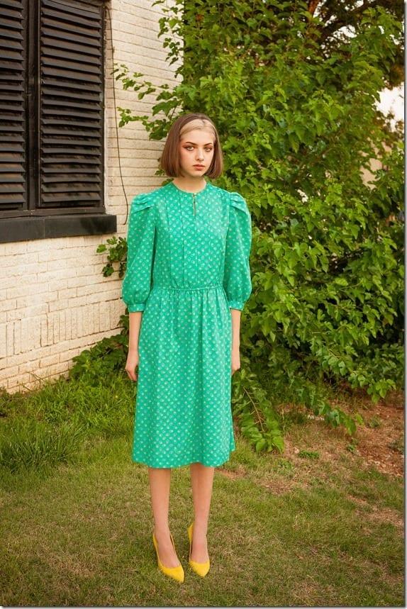 vintage-80s-turquoise-puff-sleeve-dress