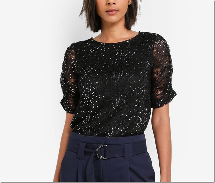 black-sequin-ruched-sleeve-top
