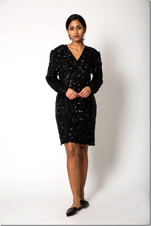 black-sequin-v-neck-dress
