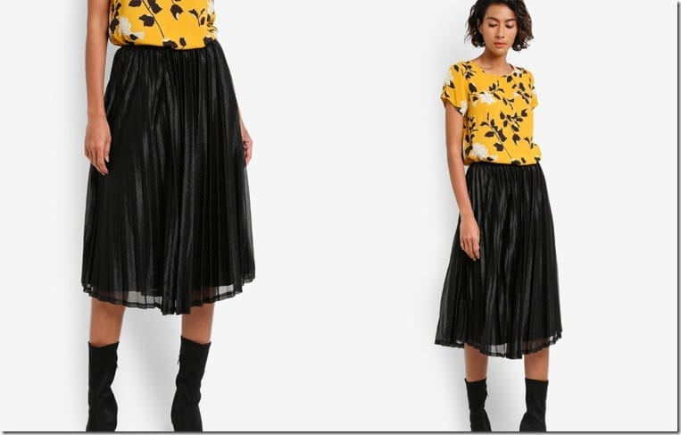 flowy-black-pleated-metallic-skirt