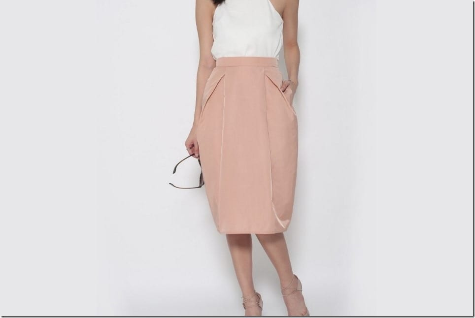 Minimalist Tulip Midi Skirt With Pockets