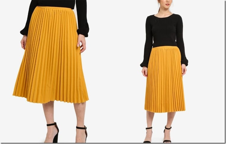 mustard-pleated-midi-skirt