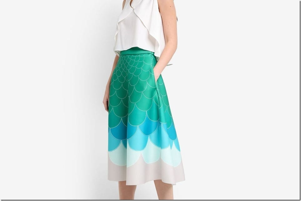 The Ombre Fish Scale Midi Skirt Style