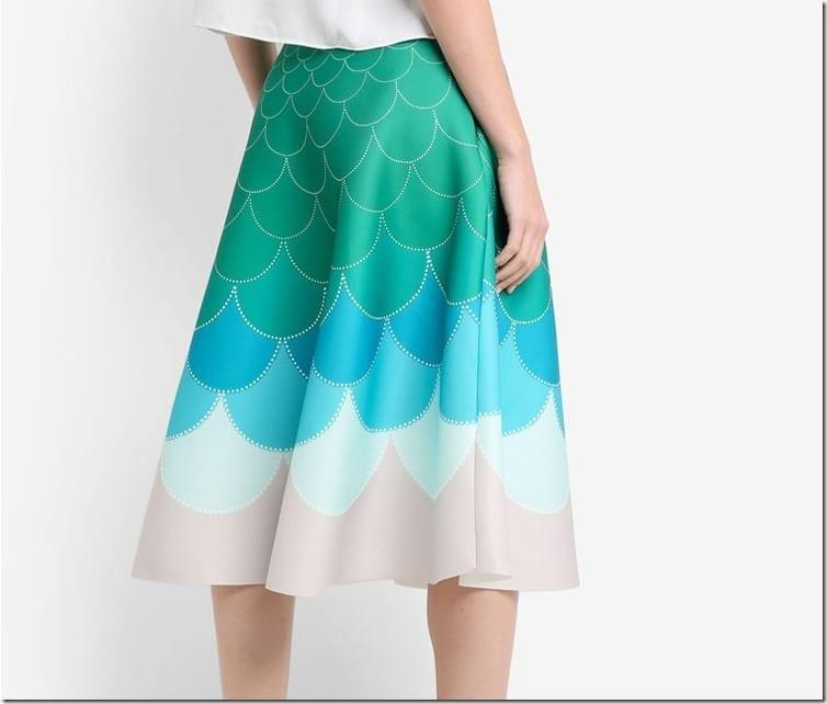 ombre-green-fish-scale-midi-skirt
