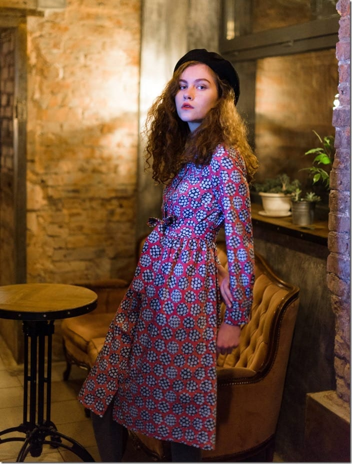 peas-print-midi-shirt-dress