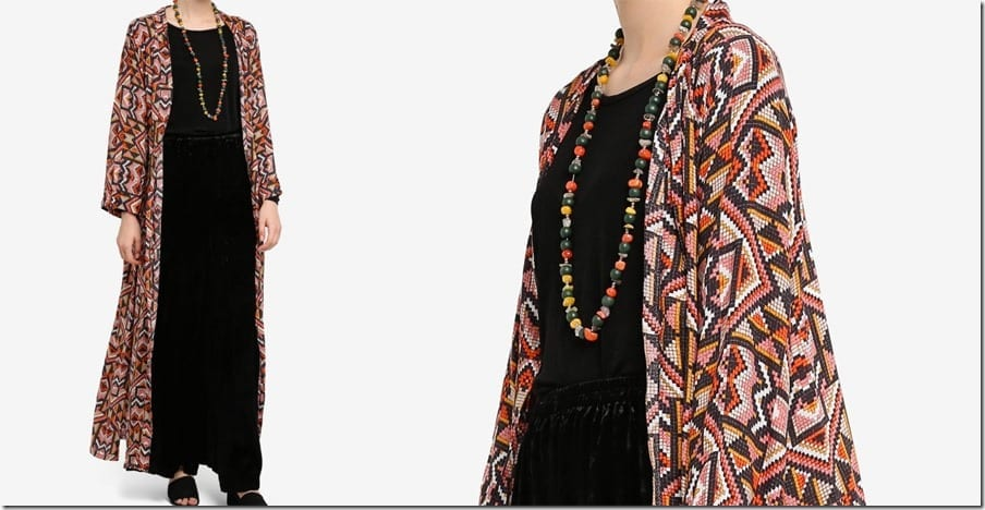 pixel-print-style-longline-cardigan