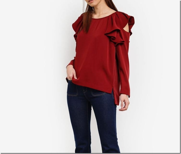 red-ruffle-cold-shoulder-blouse