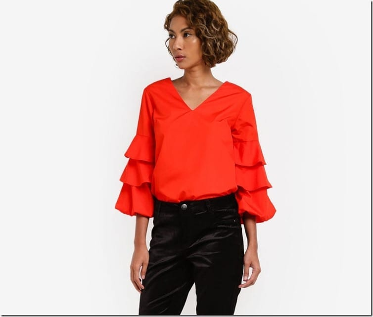 red-v-neck-puff-sleeve-blouse