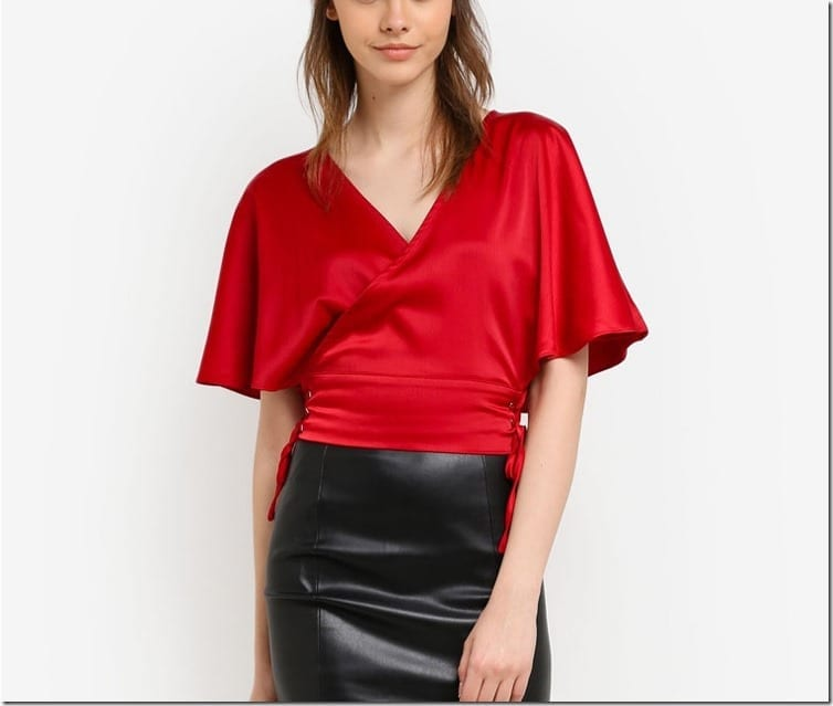 red-wrap-side-lace-up-blouse
