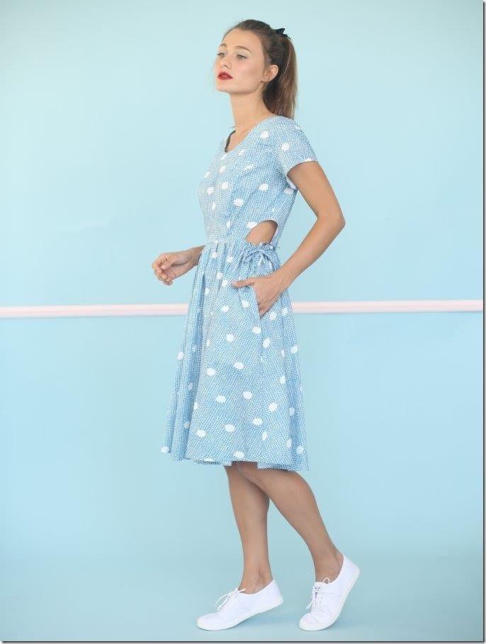 side-waist-cut-out-polka-dot-dress