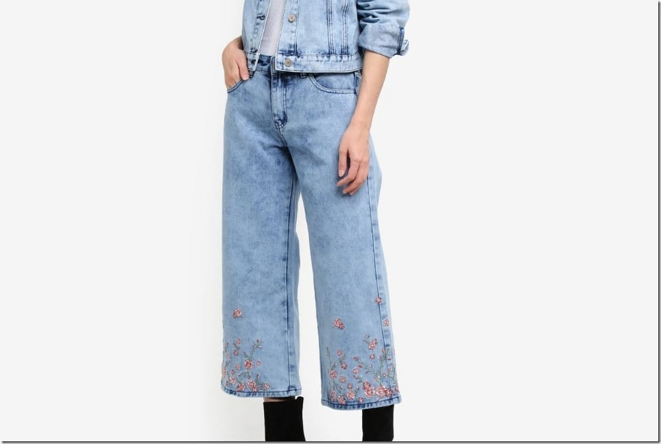 Chinese New Year 2018 Culottes ~ Denim Culottes With Subtle Embroidery