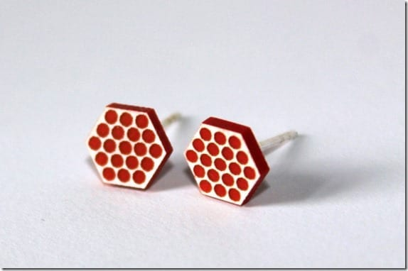 spotty-red-hexagon-stud-earrings