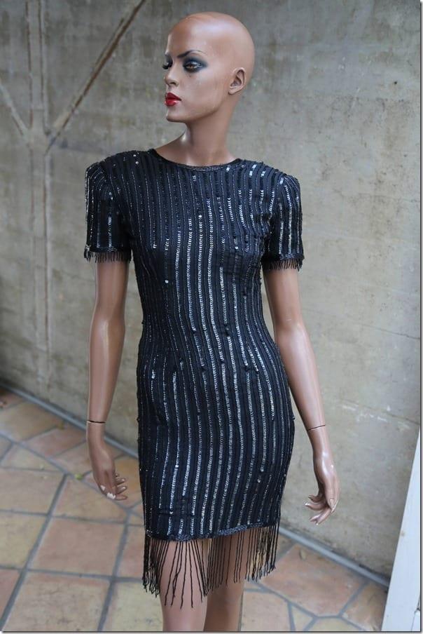 vintage-black-sequin-fringe-detail-dress