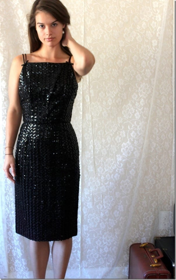 vintage-square-neck-sequin-black-dress