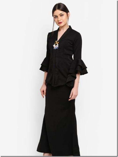 black-tiered-ruffle-sleeve-kebaya-set
