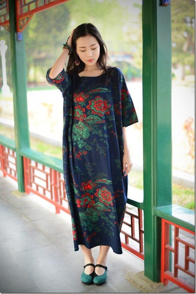 blue-floral-loose-fit-dress