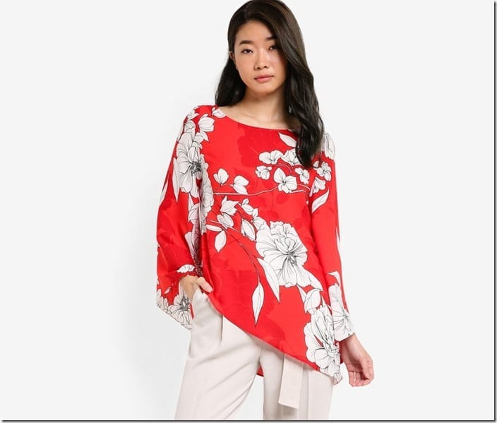 boat-neck-red-asymmetric-floral-top