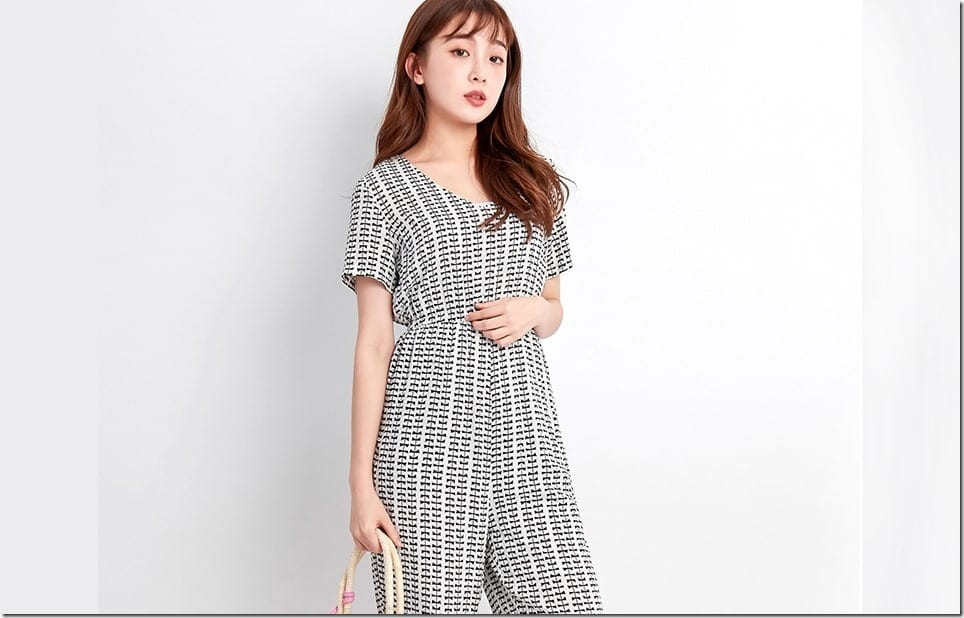 Cozy Geometric Chiffon Jumpsuit Style For Tropical Weather