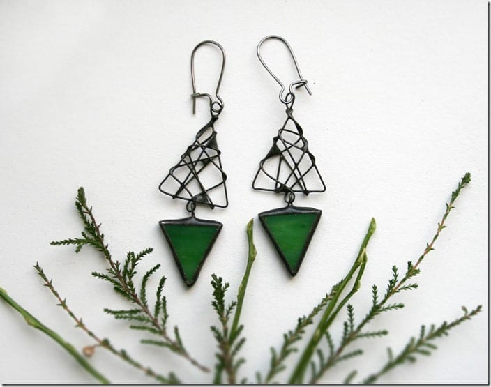 green-triangle-stained-glass-earrings
