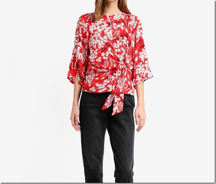 red-floral-front-knot-blouse
