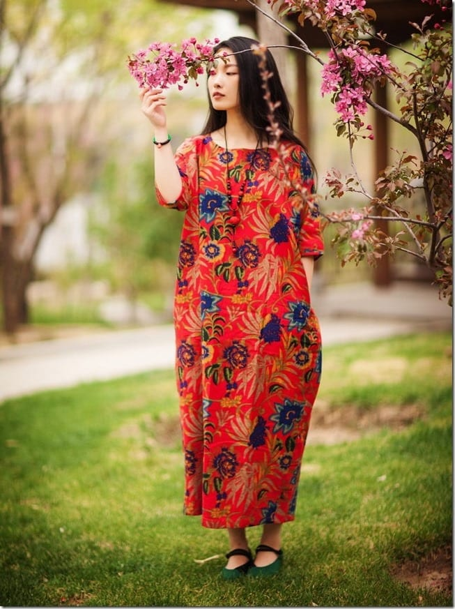 red-floral-loose-fit-dress
