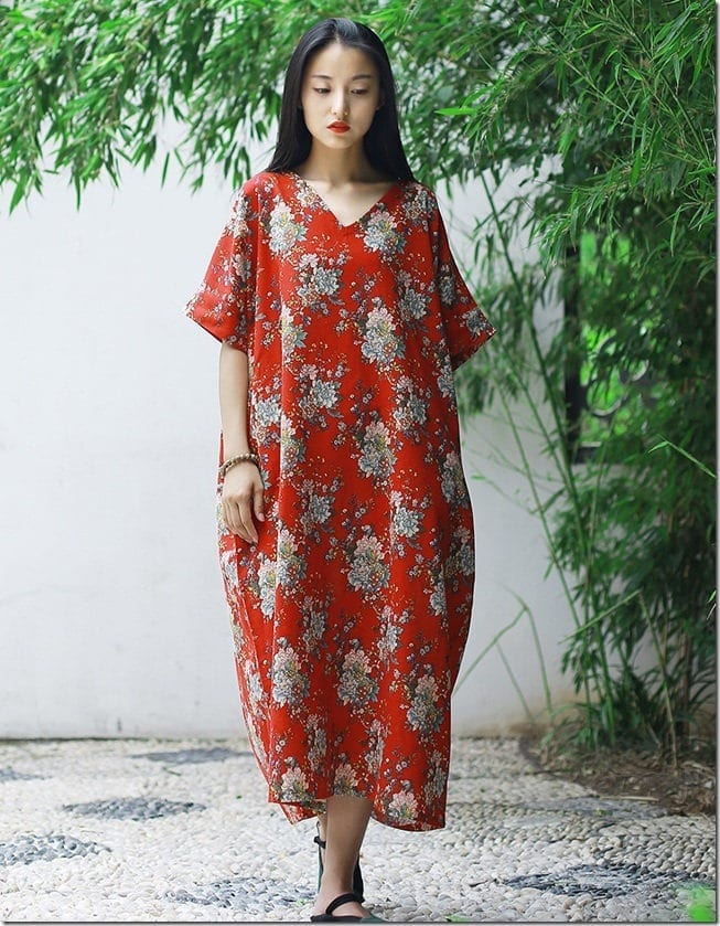 retro-floral-v-neck-loose-fit-dress