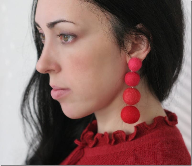 statement-red-felt-ball-earrings