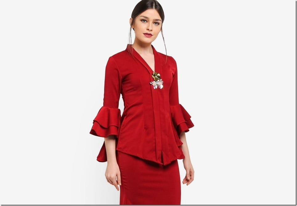 Minimalist Modern Kebaya Style With Tiered Ruffle Sleeves