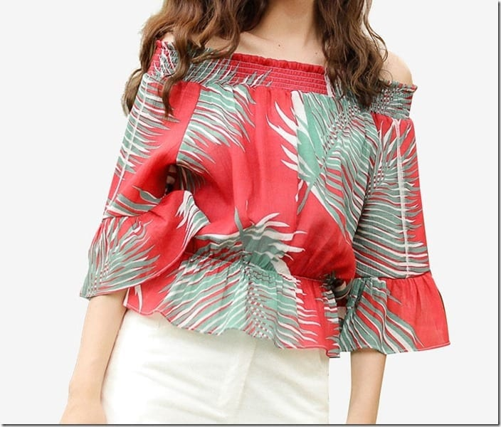 tropical-leafy-print-red-off-shoulder-top