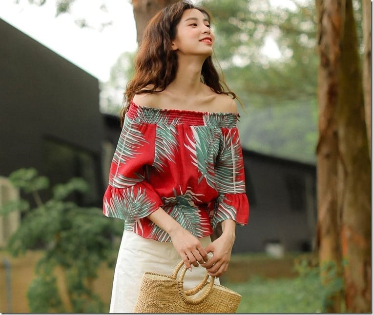 Red Tropical Print Blouse Ideas For Your CNY 2018 OOTD