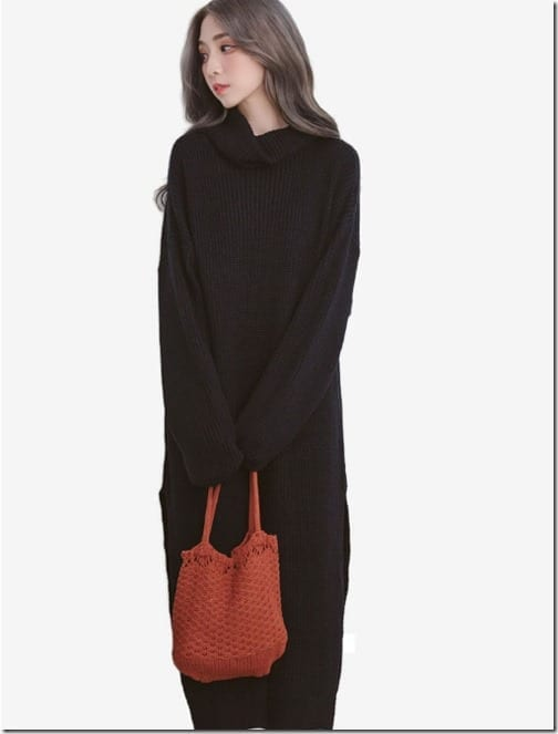 black-high-neck-sweater-knit-dress