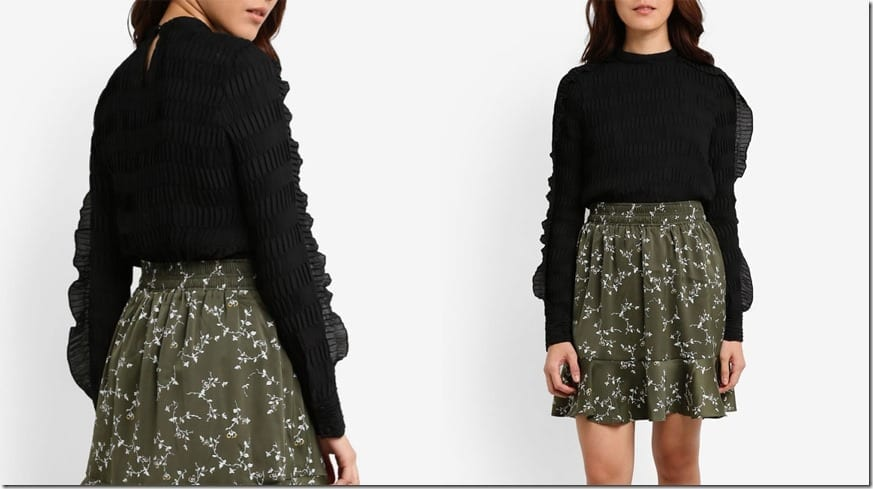 black-pleated-ruffle-detail-blouse