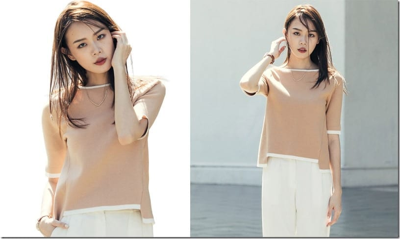 contrast-edge-sleeve-split-beige-blouse