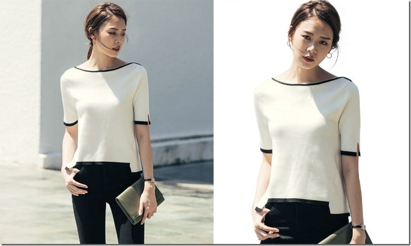 contrast-edge-sleeve-split-blouse