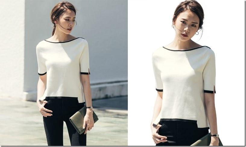contrast-edge-sleeve-split-blouse