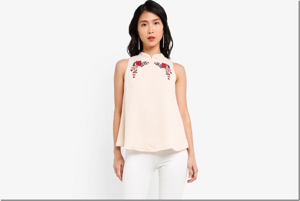 Embroidered Sleeveless Top With Mandarin Collar
