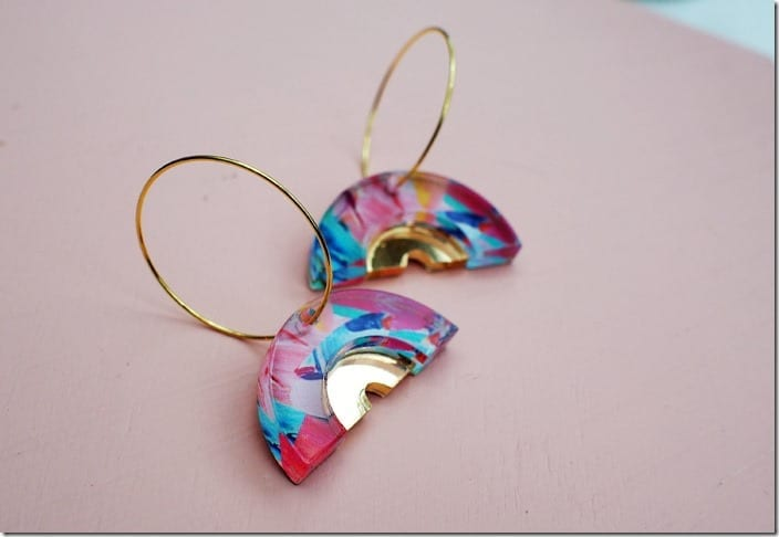 Fashionista NOW: Artistic Gold Hoops With A Colorful Splash
