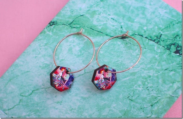 gold-hoop-colorful-hexagon-earrings