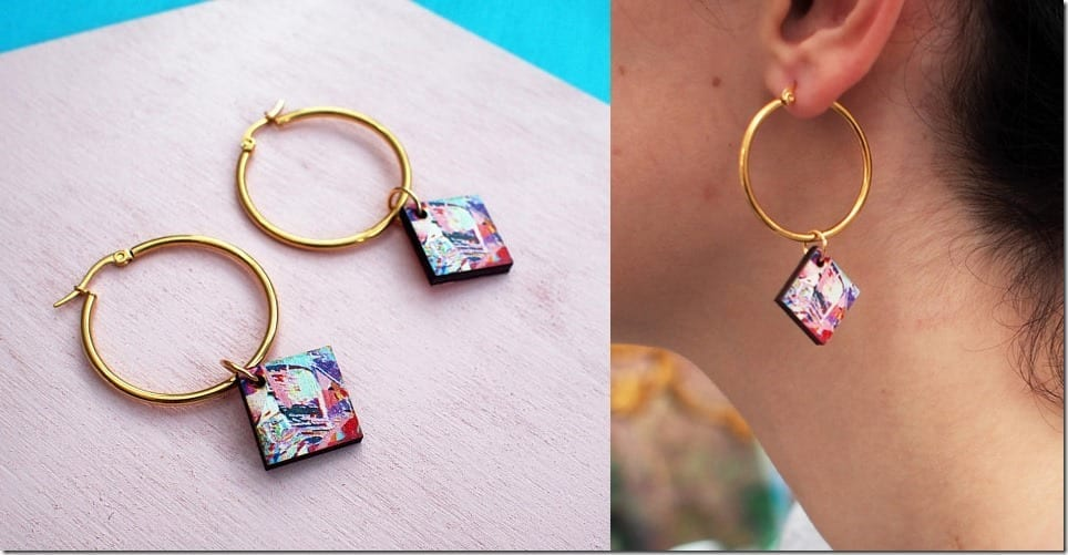 Artistic Gold Hoops With A Colorful Splash