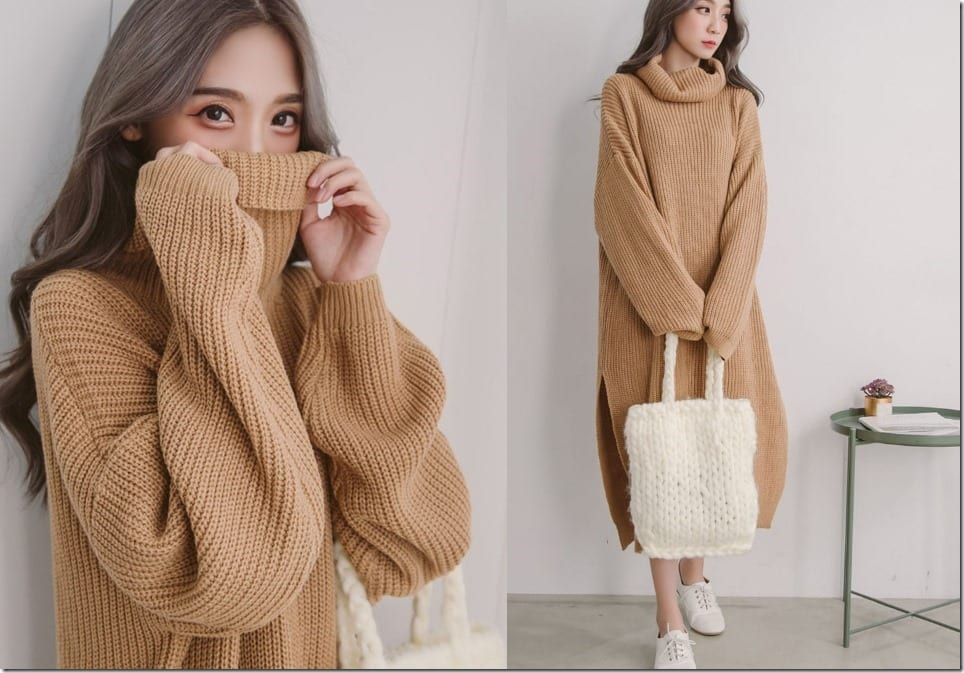 Get Cozy Chic In A Laid Back Knit Sweater Dress Style