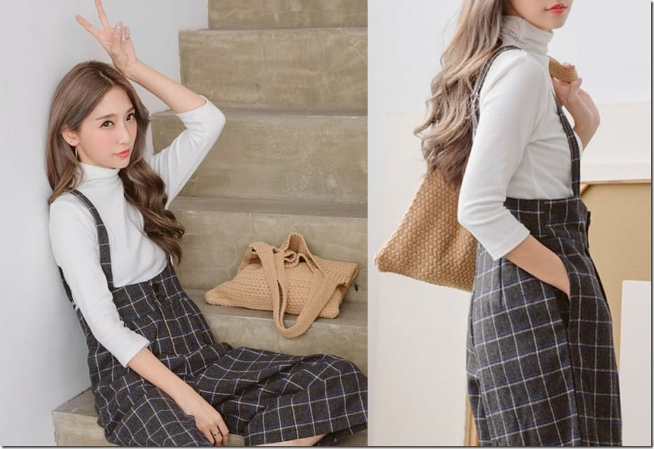 The Pinafore Culotte Jumpsuit Style In Chic Plaid