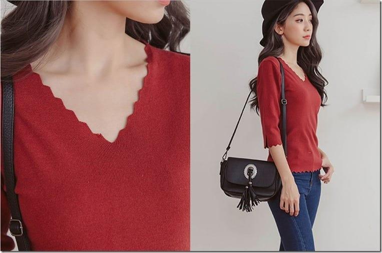 red-scallop-edge-v-neck-top