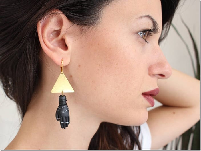 triangle-black-hand-charm-earrings