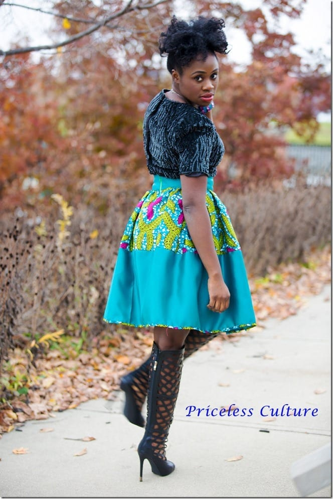 turquoise-african-print-statement-skirt