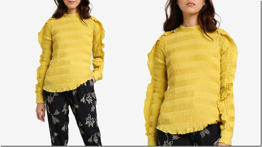 yellow-pleated-ruffle-detail-blouse