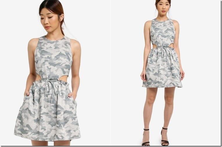 camo-cutout-drawstring-mini-dress