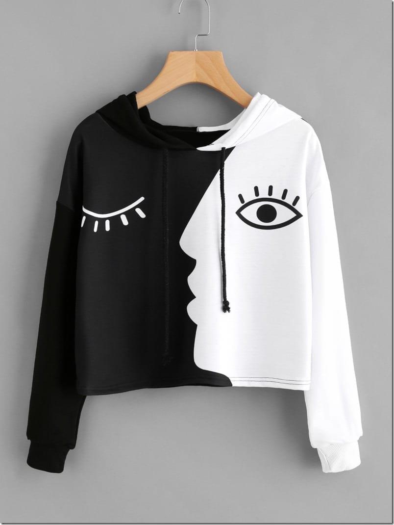 contrast-face-print-hoodie