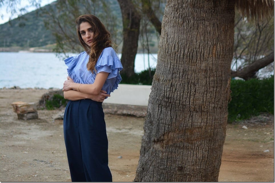 Blue Striped Shirts With Feminine Details