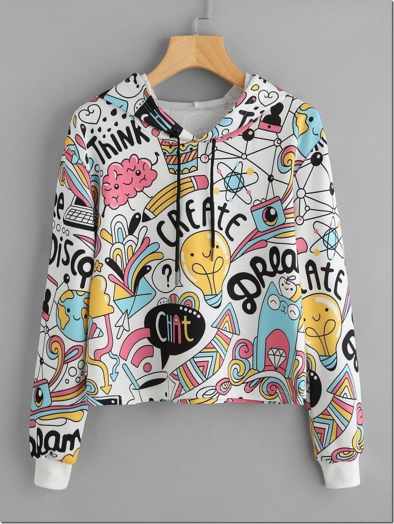 graphic-print-crop-hoodie