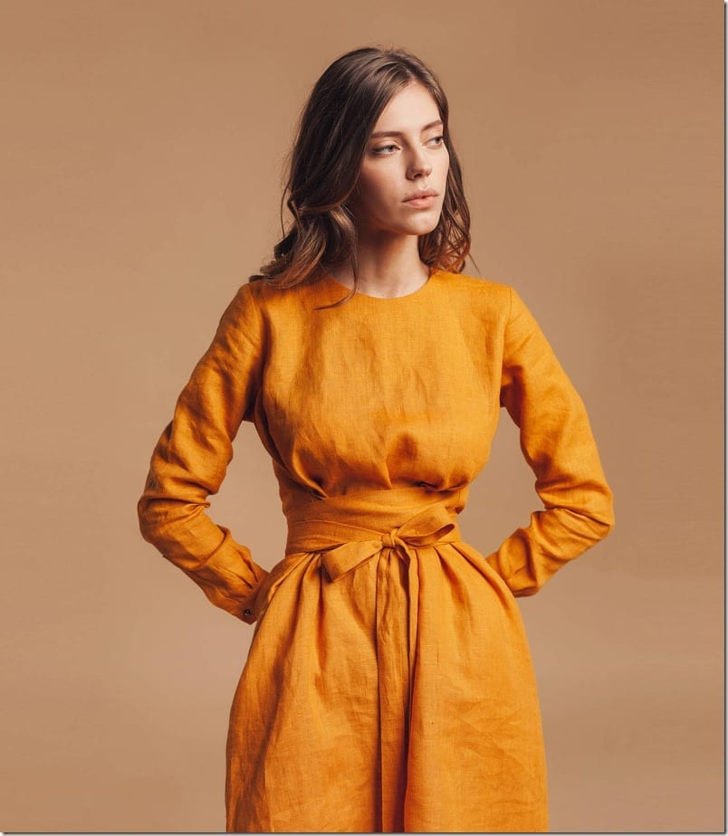 mustard-yellow-linen-dress